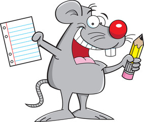 Cartoon mouse holding a paper and pencil.