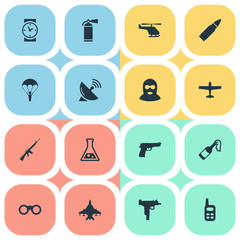 Set Of 16 Simple Battle Icons. Can Be Found Such Elements As Ammunition, Signal Receiver, Watch And Other.