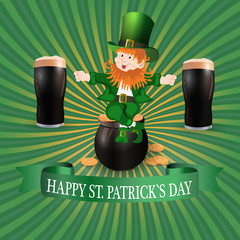 Image leprechaun and two glasses of dark beer. Greeting inscription Happy Patrick`s Day. illustration