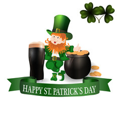 Image Leprechaun, glass of dark beer, clover leaves and pot of gold coins. Greeting inscription Happy Patrick Day. illustration