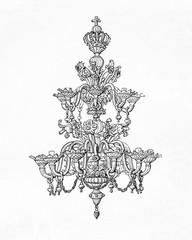 Venetian  crystal chandelier (Salviati) (from Meyers Lexikon, 1895, 7/626/627)