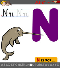 letter n with cartoon narwhal