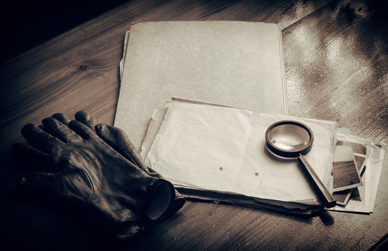Top secret documents investigation concept background
