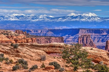 La Sal Mountains and Mesa Arch. Canyonlands National Park. Moab. United States.
