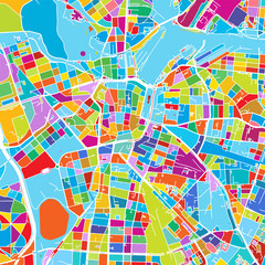 Leipzig, Germany Colorful Vector Map