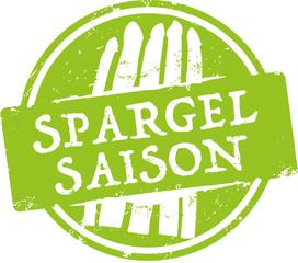 grüner Button Spargelsaison mit Spargel