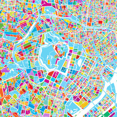 Tokyo, Japan, Colorful Vector Map