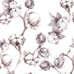 Cotton - stalk plants with seed pods. Seamless pattern. Wallpaper. Use printed materials, signs, posters, postcards, packaging.
