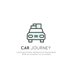 Vector Icon Style Logo of Car Journey, Camping Vacation, Delivery Service, Taxi Company, Cargo and Logistics Concept, Isolated Linear Design Concept