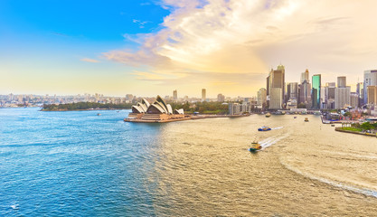 Printed kitchen splashbacks Sydney View of Sydney Harbour at sunset