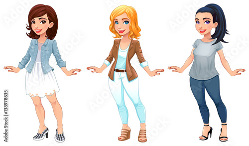 3 Girl Cartoon Characters : Quot three female cartoon characters stock image and royalty