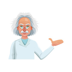 scientist man cartoon icon over white background. colorful design. vector illustration
