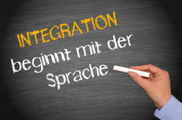 Integration beginnt mit der Sprache - Kreidetafel mit Hand und Text