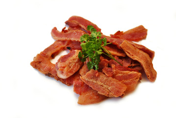 Dried Bacon Jerky with Fresh Parsley