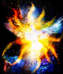 Dove in cosmic space and light flame. Painting and graphic design.