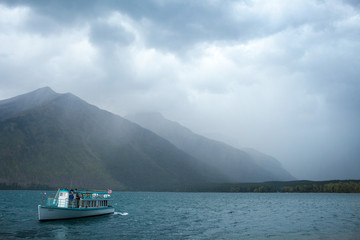 Boat in mountain lake