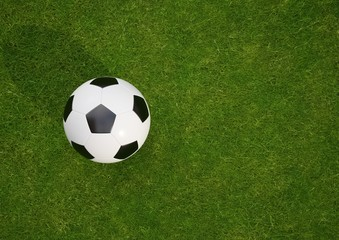 3D rendering Isolated Soccer Ball on grass field