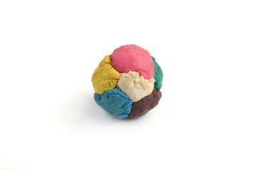 Children's colored plasticine. Materials for creativity. Colorful plasticine ball.