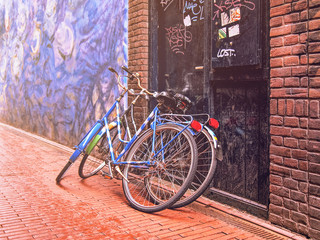 Two bicycles leaning against the door on the stone-paved roadway.