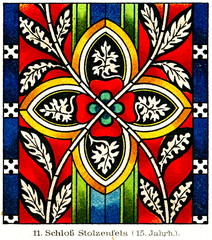 Foto auf Leinwand Buntglasfenster Stained glass from Stolzenfels Castle, 15th century (from Meyers Lexikon, 1895, 7/632/633)