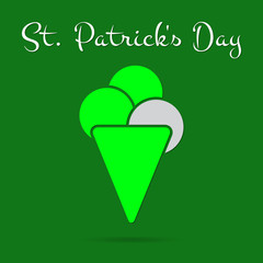 St Patricks Day card, bright green ice cream, text