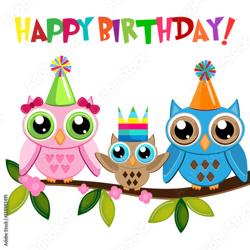 """Owl baby Birthday with owls family on a branch with text ..."