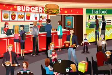 People Ordering Food in Food Court