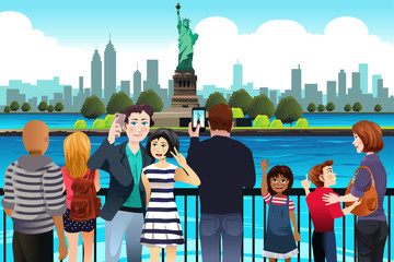Tourists Taking Picture Near Statue of Liberty