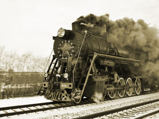 Retro steam train in motion
