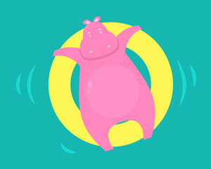 Pink hippo swims in the pool on a rubber circle. Vector illustration