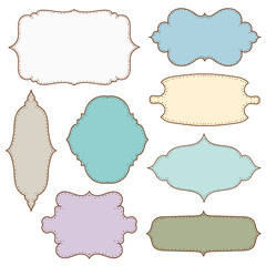 Vector illustration of a set of simple tags, labels, frames for scrapbook and design