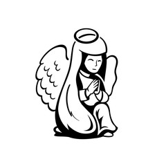 Praying angel on her knees