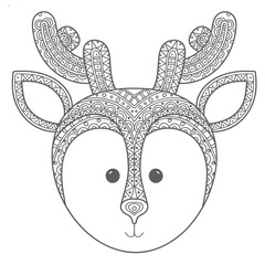 Hand drawn ethnic ornamental cute deer's face in doodle, zentangle tribal style for coloring pages,artistically tattoo, t-shirt print. Vector animal illustration.