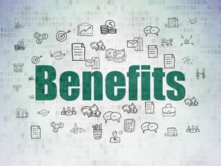 Finance concept: Benefits on Digital Data Paper background