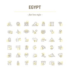 Vector graphic set. Icons in flat, contour,thin, minimal and linear design. Egypt. Travel to Egypt. Simple isolated icons.Concept of web site and app.Sign,symbol, elements.