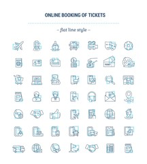 Vector graphic set. Icons in flat, contour, thin, minimal and linear design.Online ticket booking. Internet service.E-commerce, shopping.Simple isolated icons.Concept for Web site, app.Sign, symbol.
