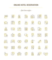 Vector graphic set. Icons in flat, contour, thin, minimal and linear design.Online hotel booking.Internet service.E-commerce. Simple isolated icons.Concept illustration for Web site, app.Sign, symbol.