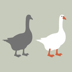 goose vector illustration style Flat silhouette