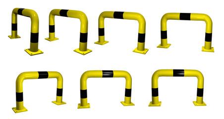 3d-Illustration, Rammschutzbügel in schwarz-gelb