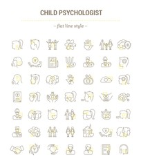 Vector graphic set.Icons in flat, contour,thin, minimallined, outline, and linear design.Child psychologist.Support for children's health.Simple isolated icons.Concept for Web site app.Sign,symbol.