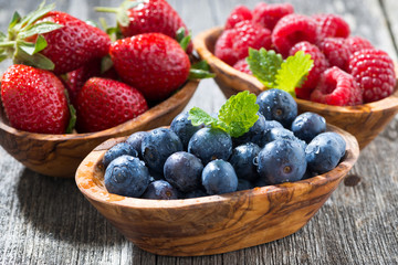 assortment of fresh seasonal berries in a wooden bowl, closeup