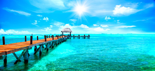 Canvas Prints Caribbean Exotic Caribbean paradise. Travel, tourism or vacations concept. Tropical beach resort