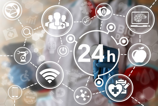24 hours medicine concept. 24/7 health care mode. Medical call center service around the clock. Providing innovative healthcare services without interruption day and night. Help, support technology