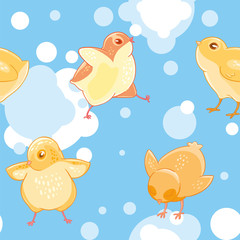 Seamless pattern with cartoon funny yellow chickens on a background of blue sky and clouds.