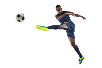 African AmericanSoccer Player Kicking Ball