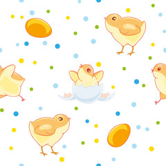 Easter seamless pattern with cute chickens and valuewise from the egg the chick on the background of colored confetti