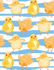 Seamless pattern with cute cartoon yellow chicken blue and white striped background.