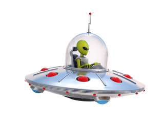 Alien spaceship, flying saucer 3d illustration