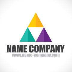 logo triangle multicolore décorateur conseil peintre