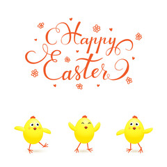 Three yellow Easter chicks on white background